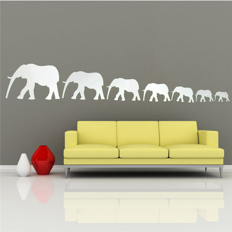 Best Promotion DIY Mirror Seven Cute Elephants Wall Stickers Home Decor Art Decal Acrylic Excellent Quality