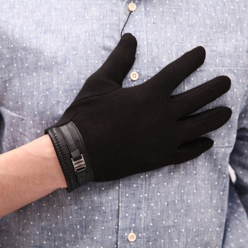 Fashion Touch Screen Warm Black Gray Brown Faux Leather Coral Fleece Lined Men Winter Gloves Mittens #78410(China (Mainland))
