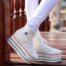 Korea Star Super Thick Women Casual Shoes High Top Black Women Flat Platform Shoes Lightweight Fashion