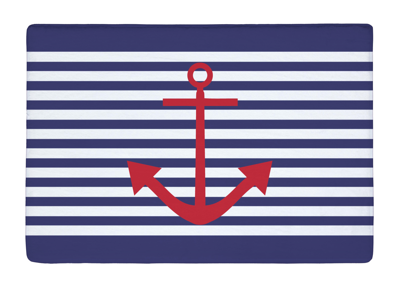 plancher tapis vintage marine bleu stripe et rouge ancre impression non glissement tapis. Black Bedroom Furniture Sets. Home Design Ideas