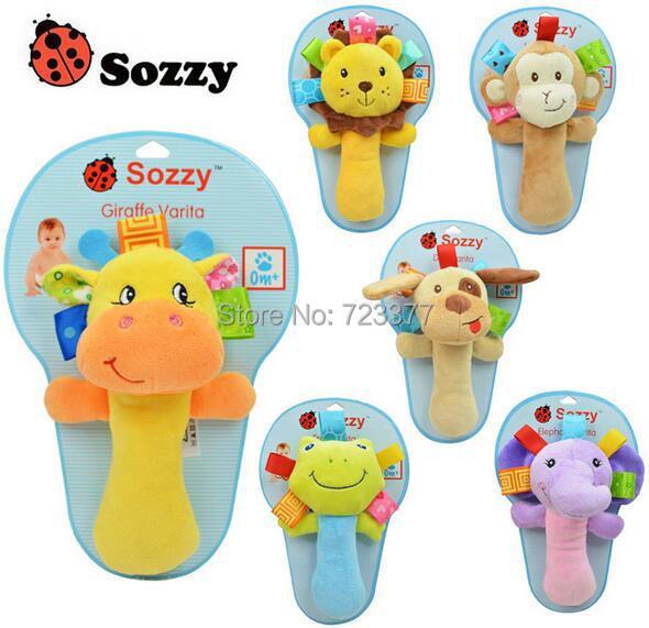 New Hot infant animal hand bell baby Rattles plush stuffed toy children mobiles sounding educational handbell 12 pcs(China (Mainland))