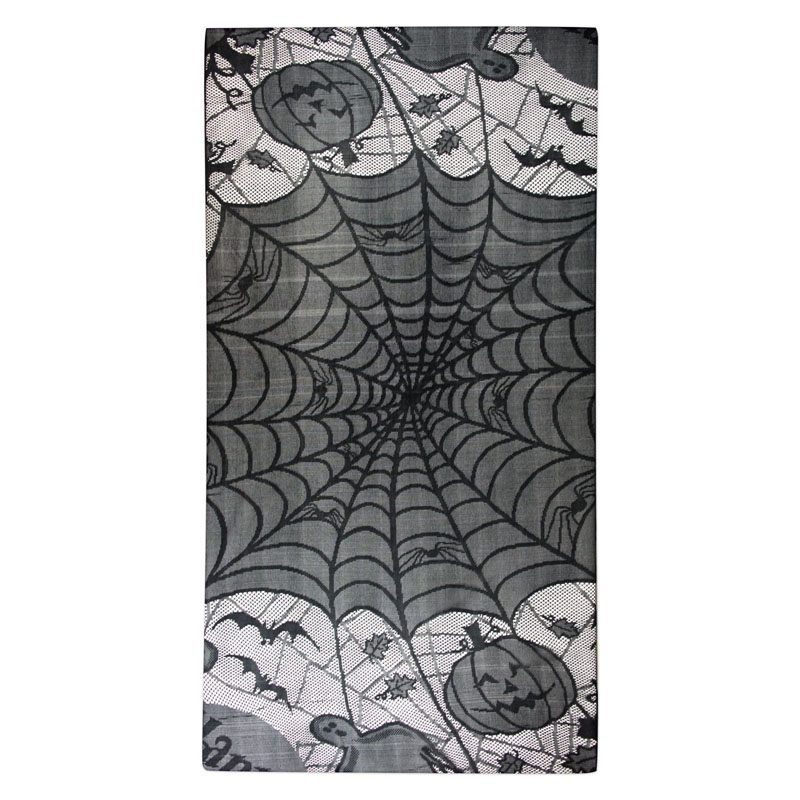 Happy Halloween New Black Lace Bat Spider Web Table Cloth Cover Topper Decor 156*216cm LS(China (Mainland))