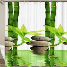 Zen shower curtains bathroom curtain Home Decor Green Yellow Zen Garden Theme Bamboo Waterproof show curtain(China)