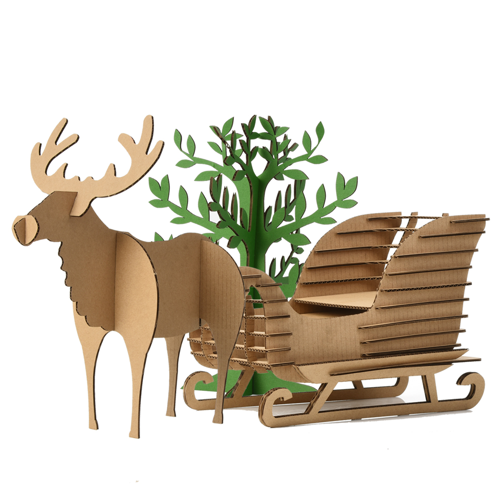 Cute Kids Gifts Christmas Tree Ornaments Reindeer Snow Sledge Toys Children 3D Puzzle Deer Sled Model Decoration Xmas Present(China (Mainland))