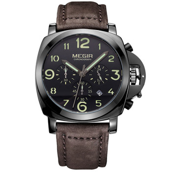 Megir Chronograph Casual Watch Men Luxury Brand Quartz Military Sport Watch Genuine Leather Men's Wristwatch Relogios Masculino