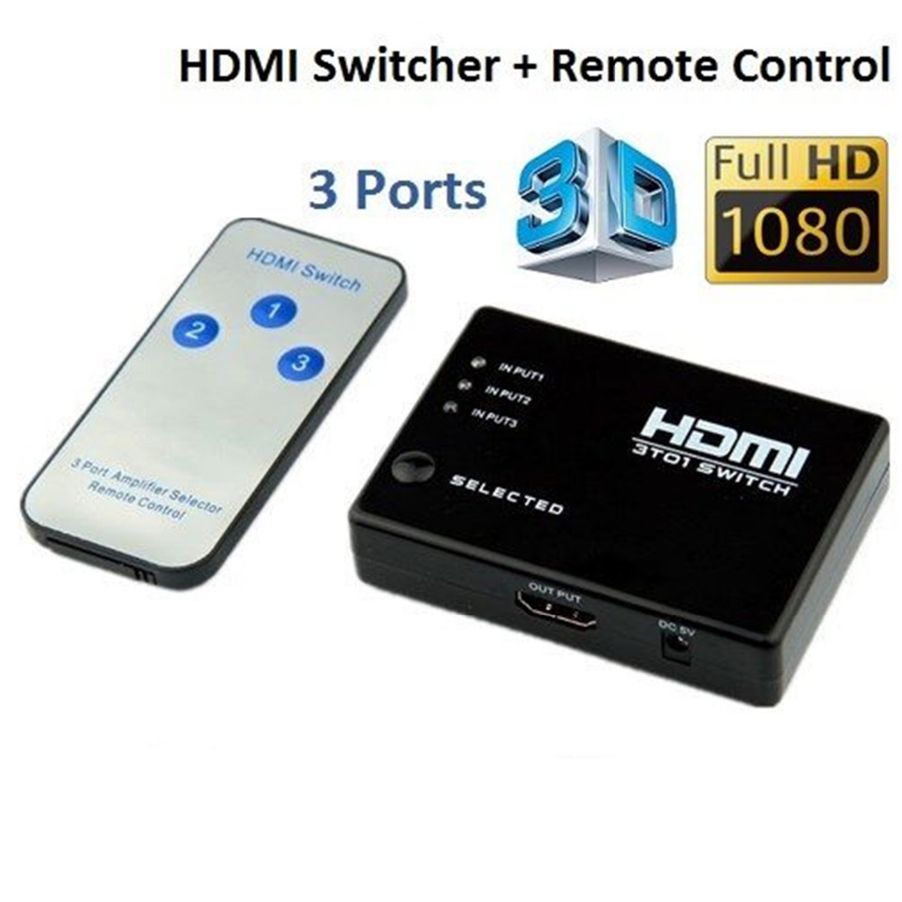 Switcher Splitter Hub & IR Remote 1080p 3 In 1 Out 3 PORT HDMI Switch Selector for Xbox360 for wii For HDTV PS3 New arrvial(China (Mainland))