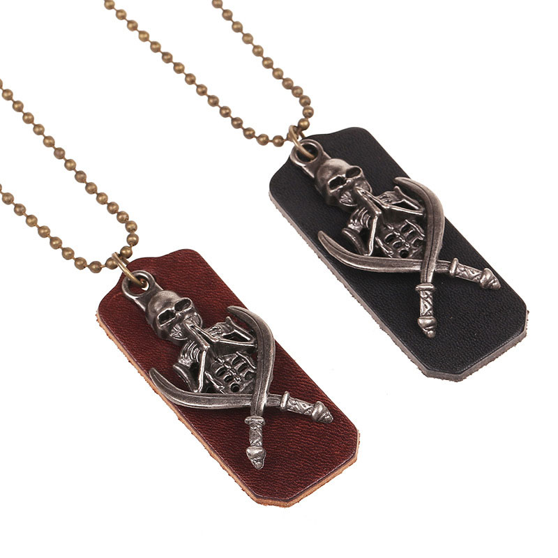 Men's Genuine Leather Necklaces Pendants Vintage Viking Skeleton Alloy Chain Nacklace Jewellery(China (Mainland))
