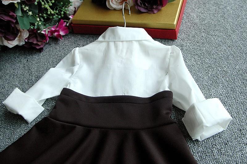 2015 new autumn winter fashion blouse patchwork long sleeve bow tie children dress cute baby girls princess dress suit 2~7 age
