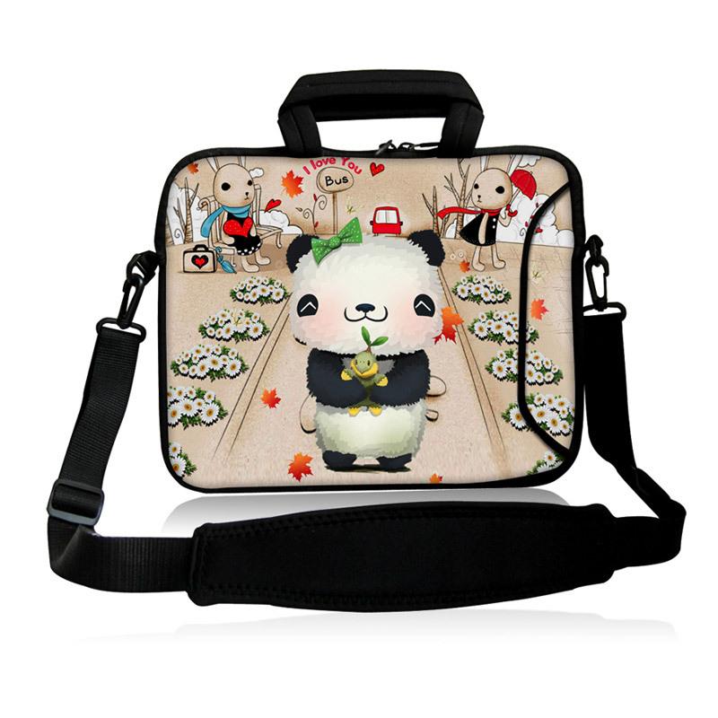"Cute Baby Panda Model 10""13""14""15""17"" Laptop Sling Neoprene Messenger Satchel Bag Shoulder Cover Case Computer Kits For Intel(China (Mainland))"