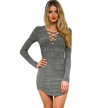 2016 Women Winter Knitted Dresses Long Sleeve V Neck Lace Sweater Dress Casual Bodycon Vestidos - Fairy Tale * store