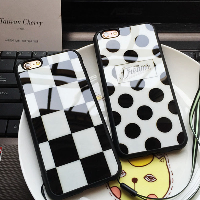Square Polka Dots Live your Dreams Luxury Mirror Case Soft TPU Case for iphone 5s 5 SE 6 6s 6plus 7 7plus Silicone Phone Cases(China (Mainland))