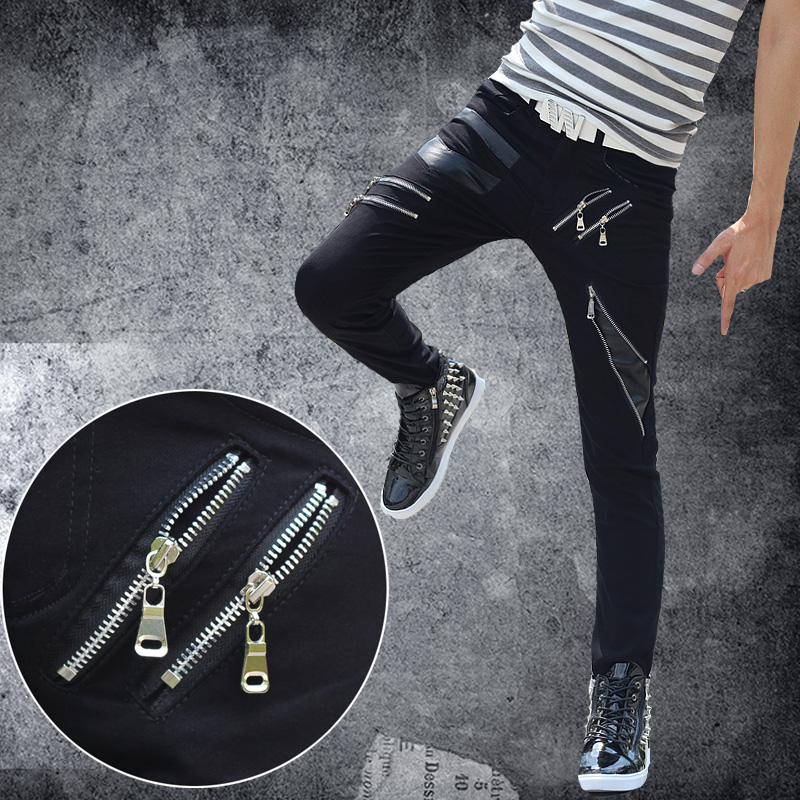 men leather pants fashion 2016 Male male street casual pants slim pants black leather men's clothing skinny pants trousers