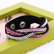 Summer 2016 Multilayer Wrap Bracelet Rhinestone Bling Slake Deluxe Bracelet Double Wrap Leather Bangle Pulseiras Femininas(China (Mainland))