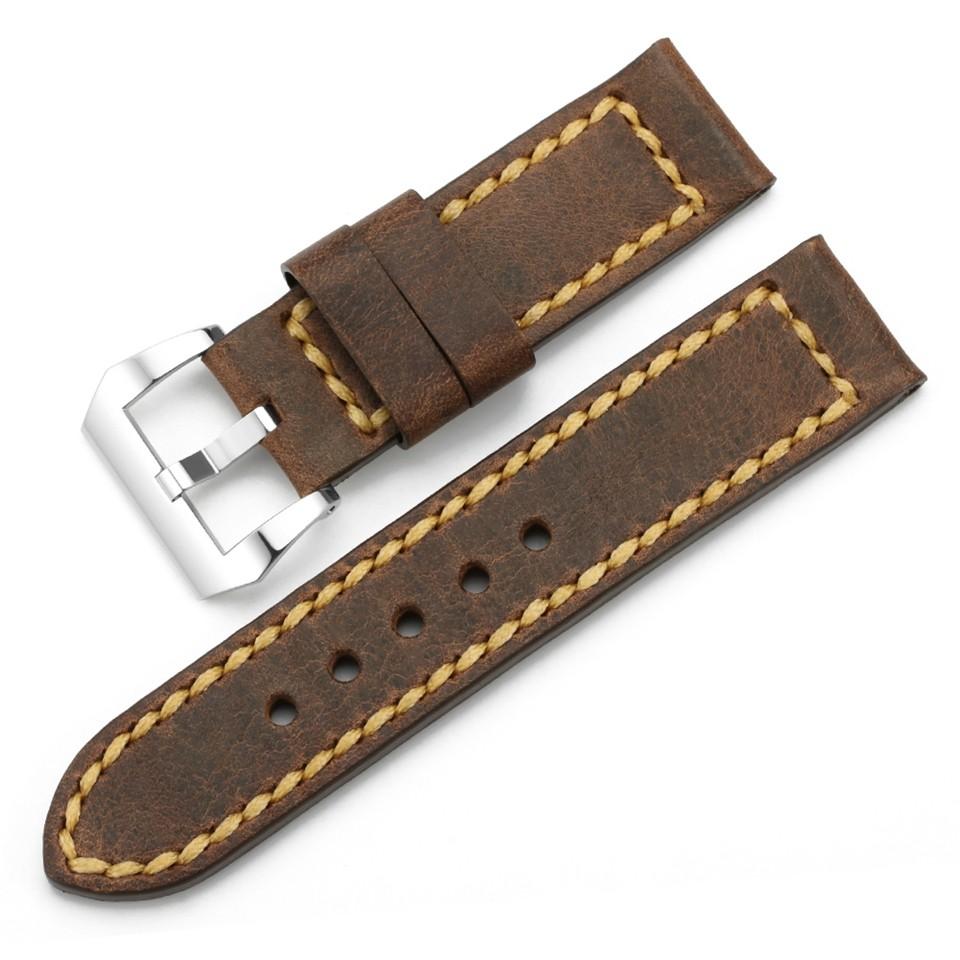 IStrap Ремешок Для Часов Браун Assolutamente Замена Смотреть Band 24 мм Винтаж Кожа Ремешок Для Panerai Ремешок для Часов