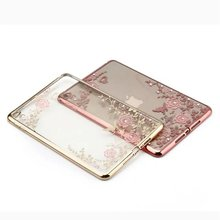 Luxury crystal diamond Flower Soft TPU thin silica gold cover case for apple mini 1 2 3 mini4 7.9inch cases for apple air2 cover(China (Mainland))