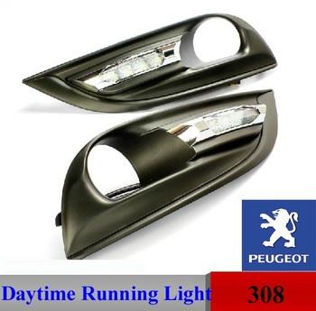 Free fast shipping Peugeot 308 Daytime Running Lights LED Daylight DRL Auto foglight  Car DRL Fog Lamp CE Emark Bright