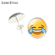 Buy LIEBE ENGEL Vintage Silver Color Emoji Jewelry Women Accessories Fashion Emoticons Glass Cabochon Stud Earrings Fine Jewelry for $1.17 in AliExpress store