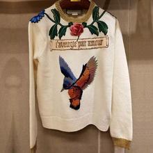 Brand Sweater 2016 European Brief Full Sleeve Fashion Birds & Flowers Embroider New StyleRunway White  High Quality Sweater(China (Mainland))