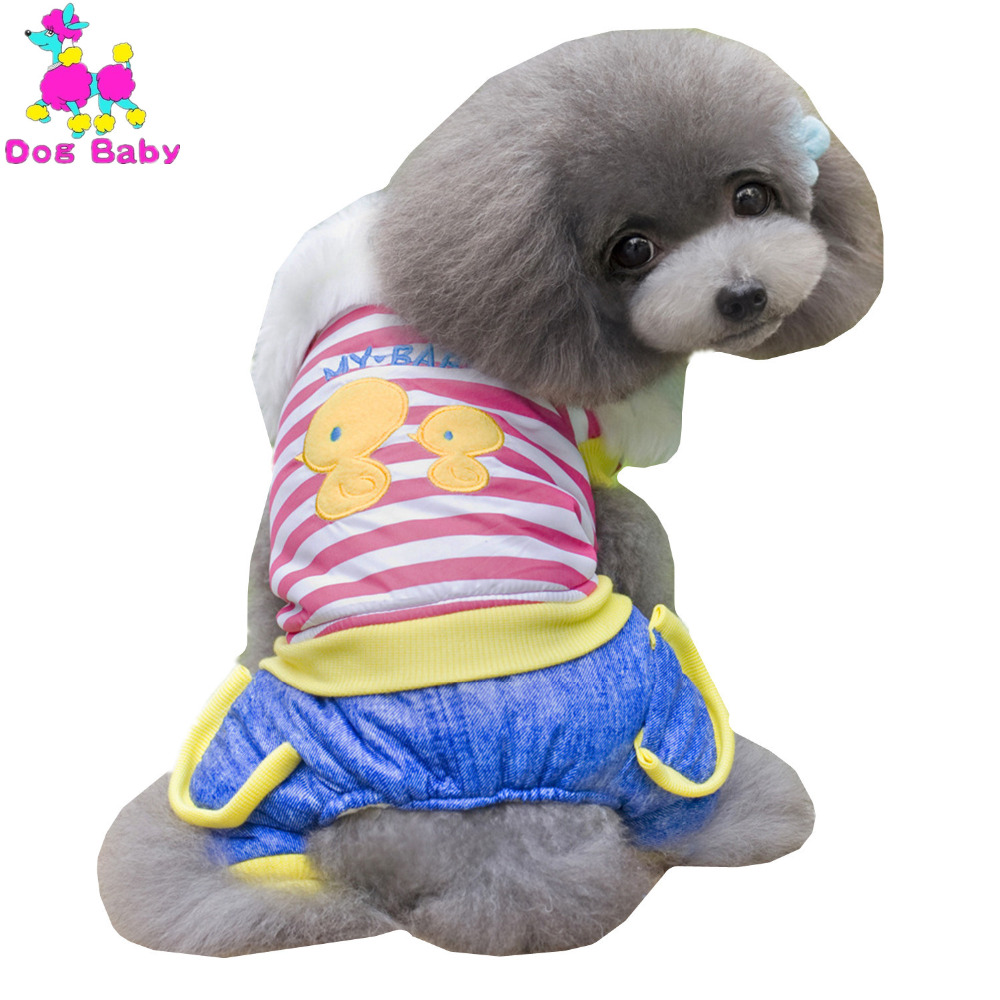 DOGBABY Dog Winter Clothes Striped Pattern Warm Dogs Coat & Jacket Cotton Soft Clothing Chicken Pattern Four Legs Dogs Outfit(China (Mainland))