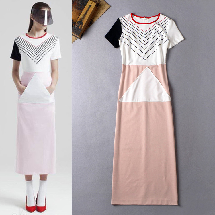 2015 Summer Fashion Women's Casual Brief Geometric Print Triangle Patchwork Short Sleeve Active Pink Mid-Calf Casual Long Dress(China (Mainland))