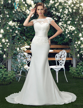 Dressv Charming Scoop Lace Wedding Dresses 2017 ivory lace appliques mermaid wedding dress trumpet chiffon outdoor bridal gown(China (Mainland))