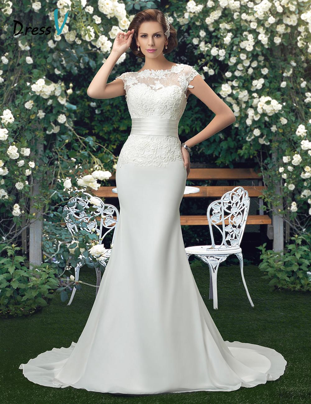 Charming scoop lace wedding dresses 2016 trumpet ivory for Ivory trumpet wedding dress
