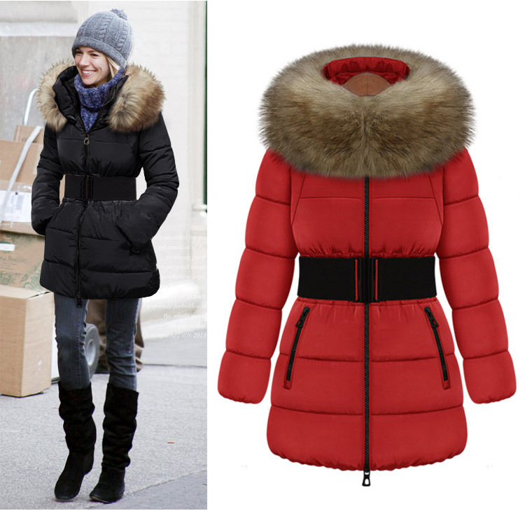 High Quality Autumn Winter Brand Women Fur Collar Warm Casual Down Coat Snow Jacket Down Outwear Plus Size S-XXXL Black Red C3(China (Mainland))