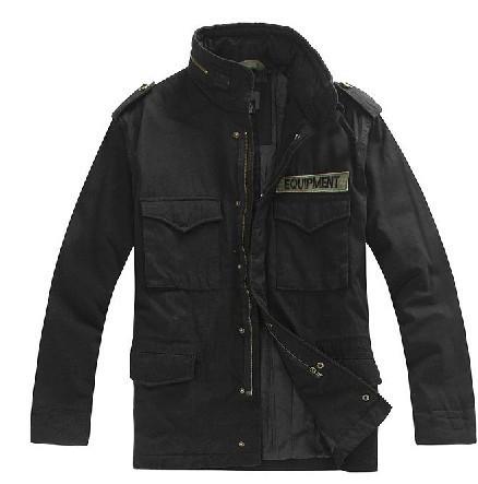 Giacca militare tattico per gli uomini m65 distintivi giacca colletto e lunghi tratti caldo cotone imbottito nero(China (Mainland))