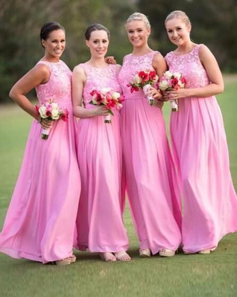 Online buy wholesale romantic bridesmaid dresses from china romantic pink long chiffon bridesmaid dresses dama de honor larga vestidos cuello alto gasa vestido de ombrellifo Images