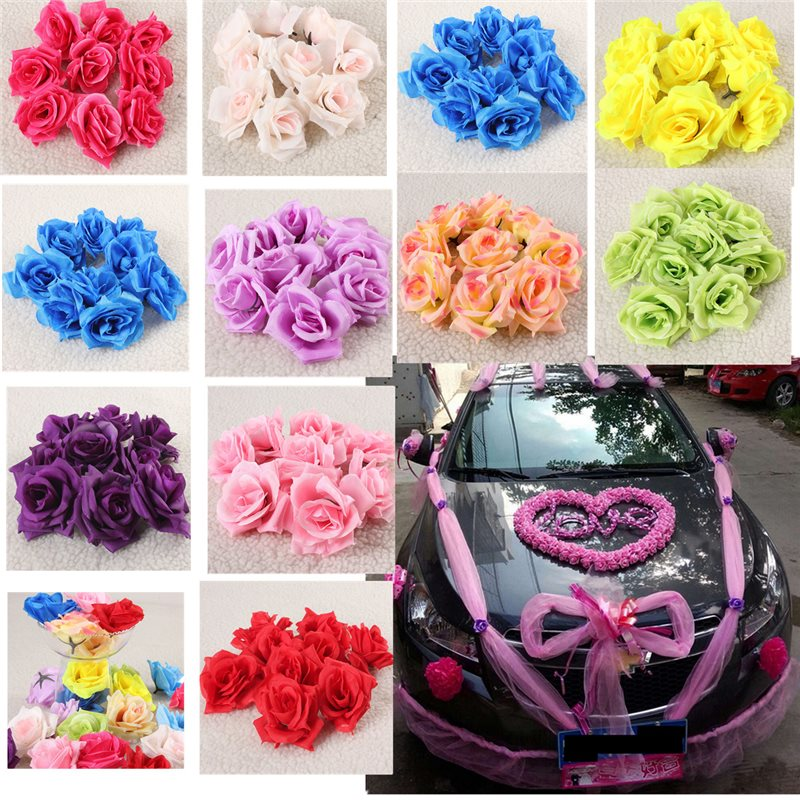 50/100pcs Silk Roses Artificial Bridal Wedding Car Decor Church Flower Heads 9CM(China (Mainland))