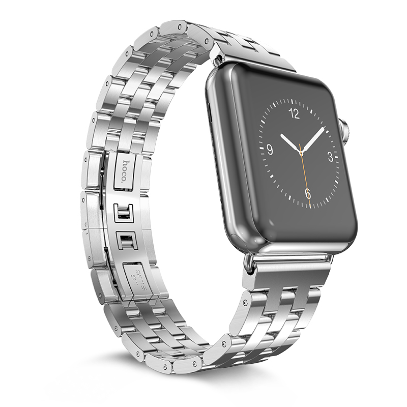 Silver luxury five beads stainless steel watch strap for apple 38mm/42mm watchband от Aliexpress INT