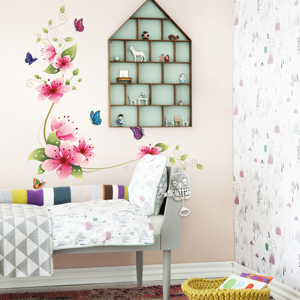 New Arrival Removable PVC Bathroom Wall Posters Sticker Flower Butterfly Decor SS(China (Mainland))