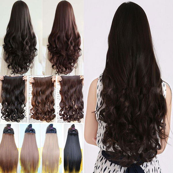 """Maga Long 29"""" 73CM Fall to Waist Clip in Hair Extensions 3/4 Full Head Curly/Wavy Style One Piece 5Clips Black Brown Blonde Hair(China (Mainland))"""