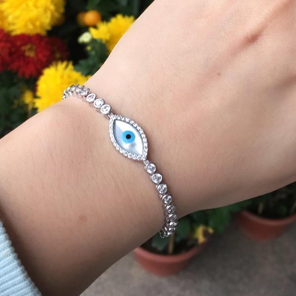 Ajustável 925 prata EyeTennis mau turco pulseira com brilliant simulado diamante pedras e mãe de pérola(China (Mainland))