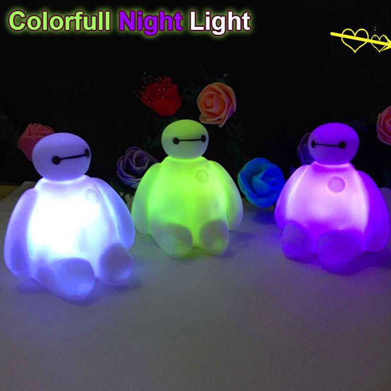 7 Color change Big Hero 6 PVC Baymax Cartoon LED Decoration Action Figure Lamp For Holiday Celebrate Christmas Gift Night Light(China (Mainland))