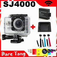 New 2015 SJ4000 WIFI video action camera full hd 1080p waterproof go pro hero3 Style Sport camrea+Extra 1pcs battery+Car Charger