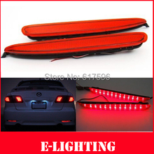 2X Red Lens LED Rear Bumper Reflector Tail Brake Stop Light  for Mazda6 03-08 JDM Atenza(China (Mainland))