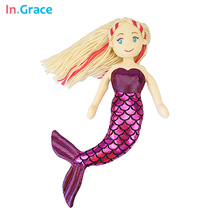 brand plush mermaid dolls with Curved tail toys for girl super beautiful little mermaid 10colors 18inch baby doll wedding dolls(China (Mainland))