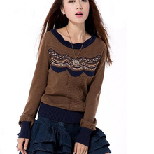 Women Sweater 2016 Yuzi.may New Casual Cotton Blends Sweaters Long Sleeve Slash-Neck Loose Pull Femme ZW1425Q Pullovers Women(China (Mainland))