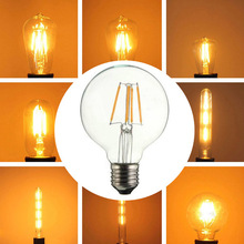 Hot Selling! Vintage Edison Dimmable E27 LED Filament Light Bulb AC 220V 2W/3W/4W/5W/6W/7W/8W Retro Globe Lighting Free Shipping(China (Mainland))