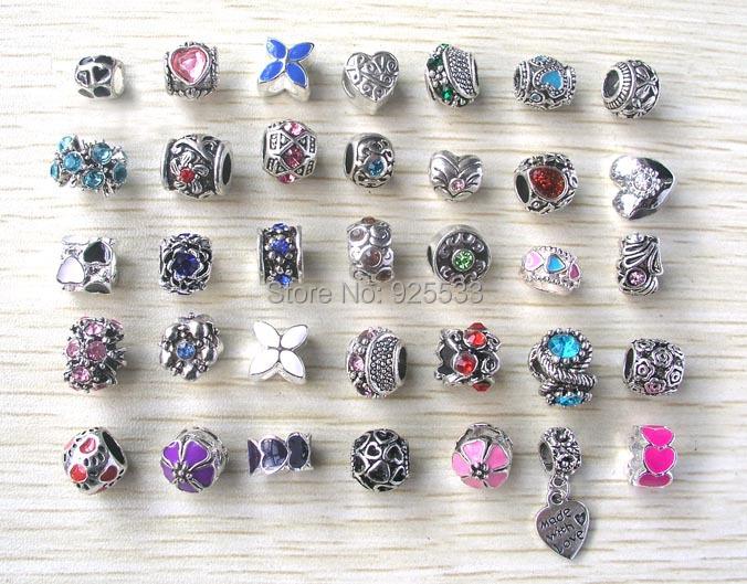 Free Shipping 35pcs per lot mix color & style rhinestone big hole beads fit European Pandora Jewelry Braclet Charms DIY(China (Mainland))