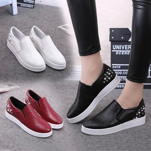 women shoes Spring 2016 flat shoes low tide rivet thick soled shoes with Yang Mi slip on loafer zapatos mujer