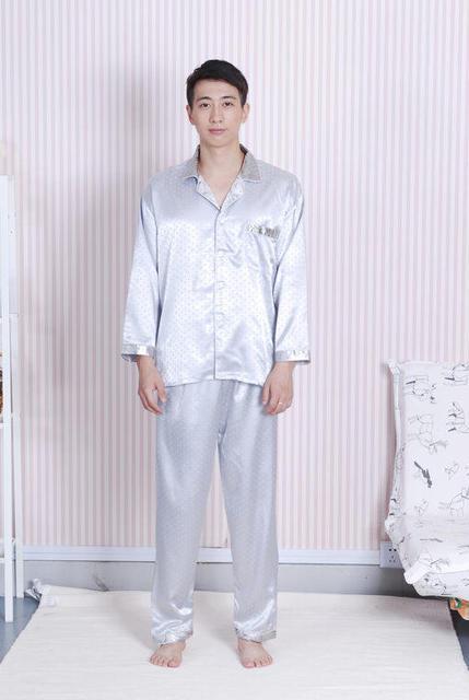 Новинка серебро мужской шелковая пижама комплект + брюки 2 шт. ночное китайском стиле ...