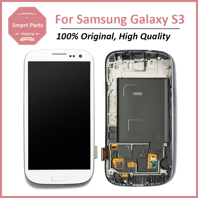 Original New Replacement For Samsung Galaxy S3 i9300  LCD Display With Touch Digitizer Screen Assembly With Frame, Free Shipping(China (Mainland))