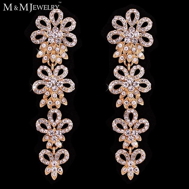 Высшего сорта австрийского кристалл 14 К позолоченные цветочные серьги мода мотаться серьги для женщин EH441-gold