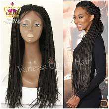 Brazilian hair braid lace front wig box braiding wig with baby hair heat resistant synthetic lace front wig for black women