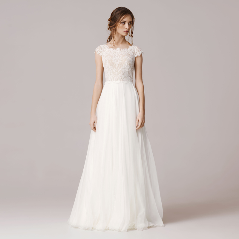 Short Sleeve Lace Wedding Dresses 2016 Chiffon Simple