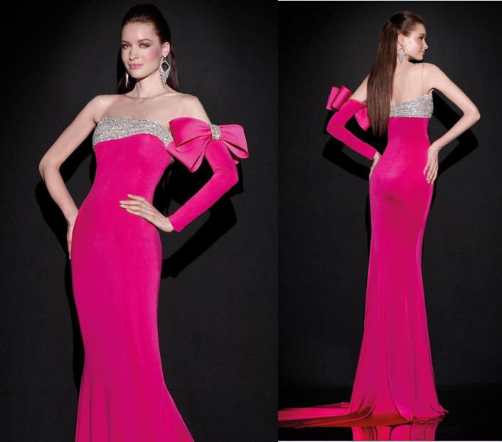 Stunning Tarik Ediz Prom Dresses Beaded Big Bow Mermaid Long Sleeve Floor Length Formal Evening ...