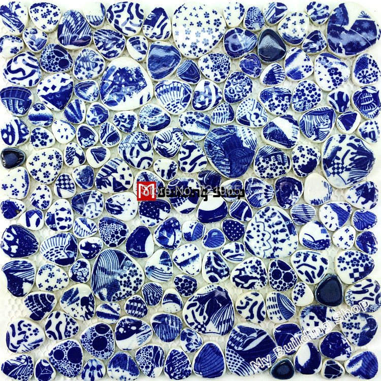 Simple Pool Tile Mosaic Pebble Blue Bathroom Floor Sticker Wall Border Tile