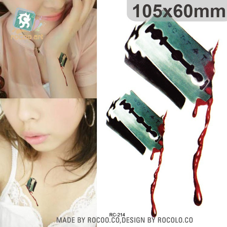SC932/2016 Real Biochemical Zombie Wounds Temporary Tattoo New Waterproof Knife Halloween Tattoo Horror